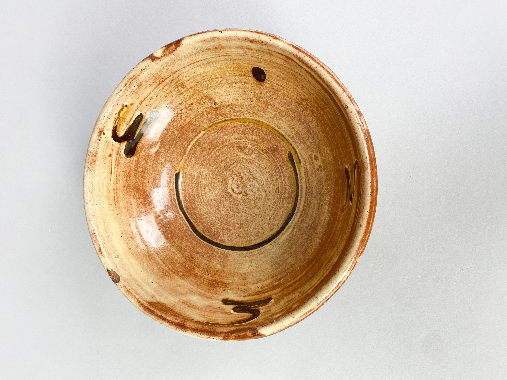 MARGARET LEACH for Barnhouse Pottery; a slipware bowl with iron decoration on yellow ground, - Image 3 of 5