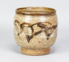 PERCY BROWN (1911-1996); a deep stoneware vase with iron decoration on mottled grey ground,