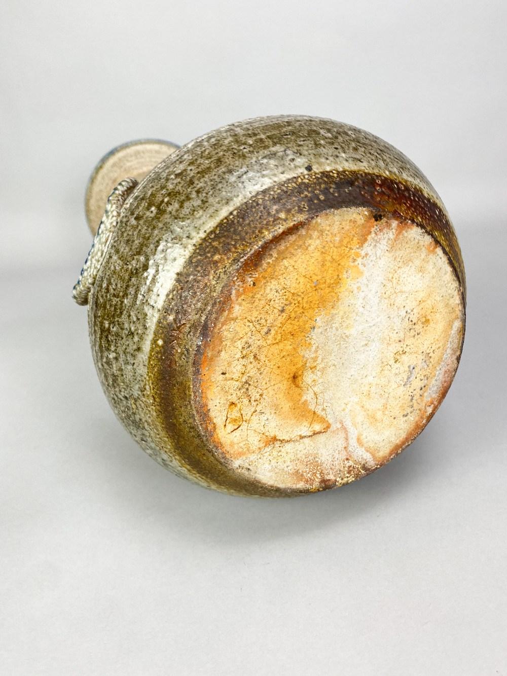 KAREN KARNES (1925-2016); a tall salt glazed bottle with elongated neck, cobalt rim and applied - Image 4 of 5