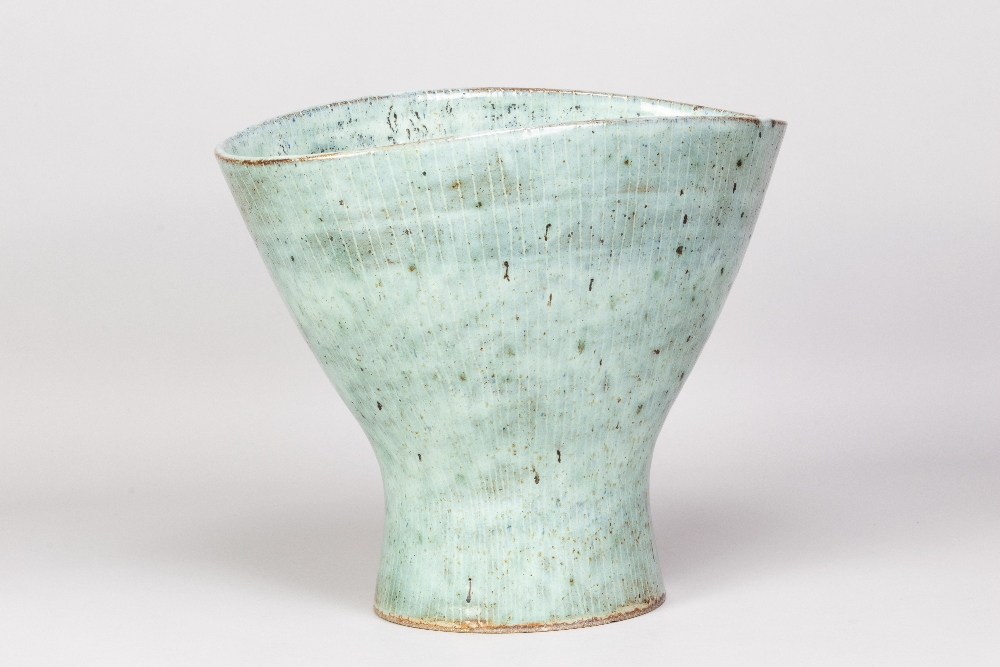 LUCIE RIE (1902-1995); a very large oval stoneware vase with squeezed rim and inlaid lines covered - Image 2 of 5