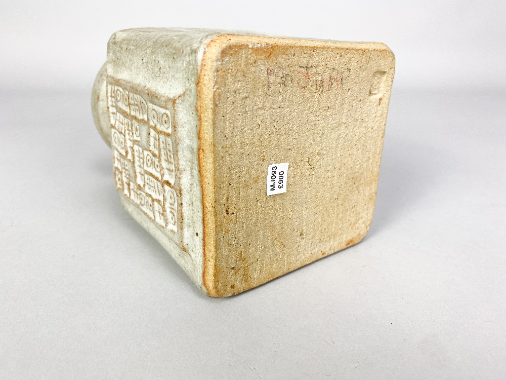 MO JUPP (1938-2018); a square stoneware vase with hieroglyphics covered in grey glaze, impressed MOJ - Image 4 of 6