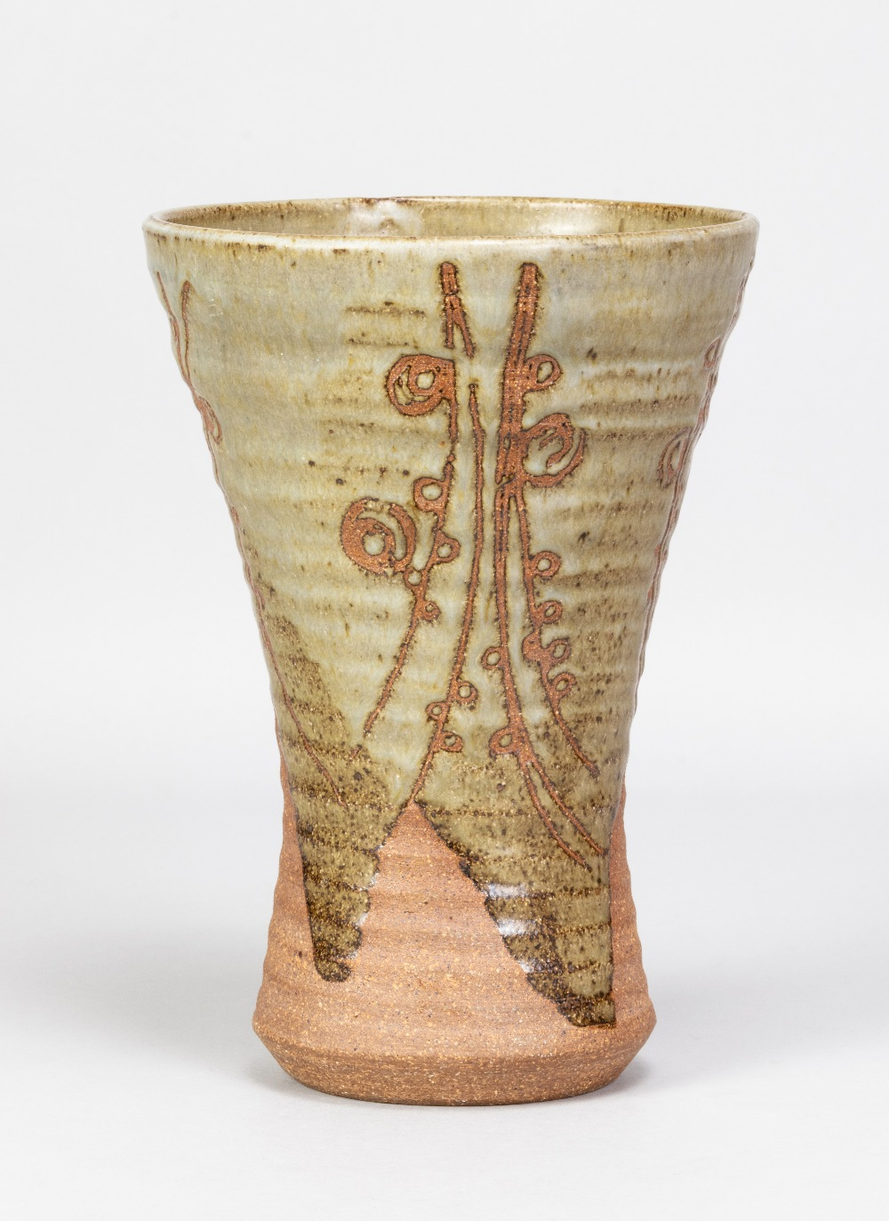 MICHAEL CASSON (1925-2003); a waisted stoneware vase partially covered in green glaze with wax