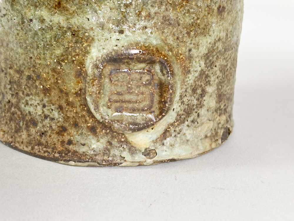 COLIN PEARSON (1923-2007); a stoneware pedestal bowl with wings covered in green glaze, impressed - Image 6 of 6