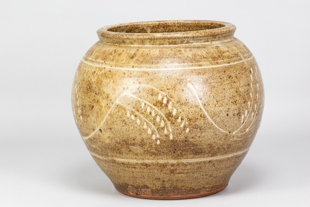 BERNARD LEACH (1887-1979) for Leach Pottery; a very large stoneware pot with floral decoration on