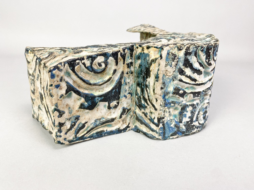 HENRY PIM (born 1947); a stoneware rocking cradle form, textured and incised surface covered in - Image 4 of 5
