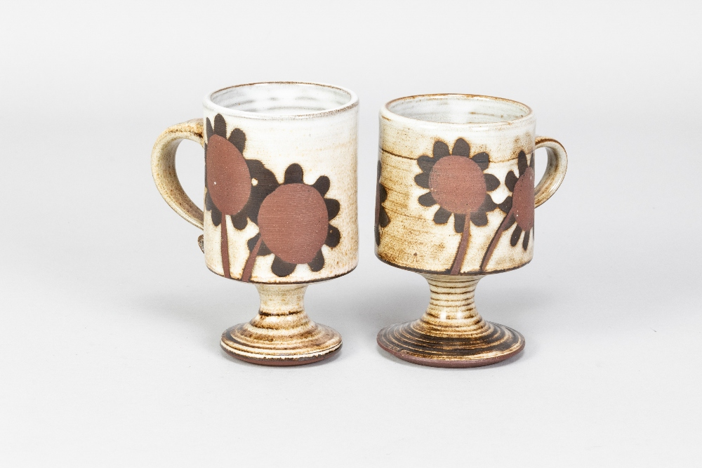 Briglin Pottery; four pairs of tin glazed earthenware footed mugs with four different decorations, - Image 5 of 6