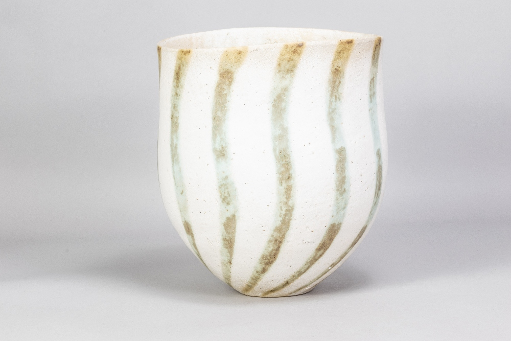 JOHN WARD (born 1938); a deep stoneware vessel with mottled green stripes on off white ground,