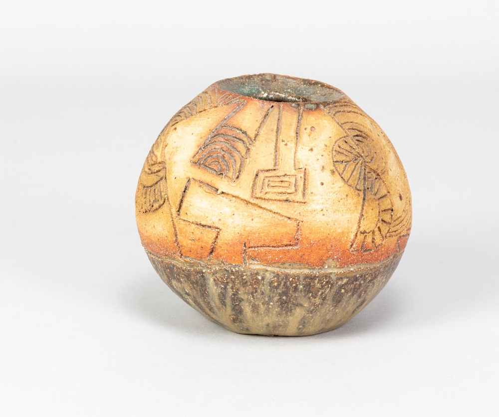 BERNARD ROOKE (born 1938); a small round stoneware pot with incised decoration, made 1960s, height - Image 2 of 4