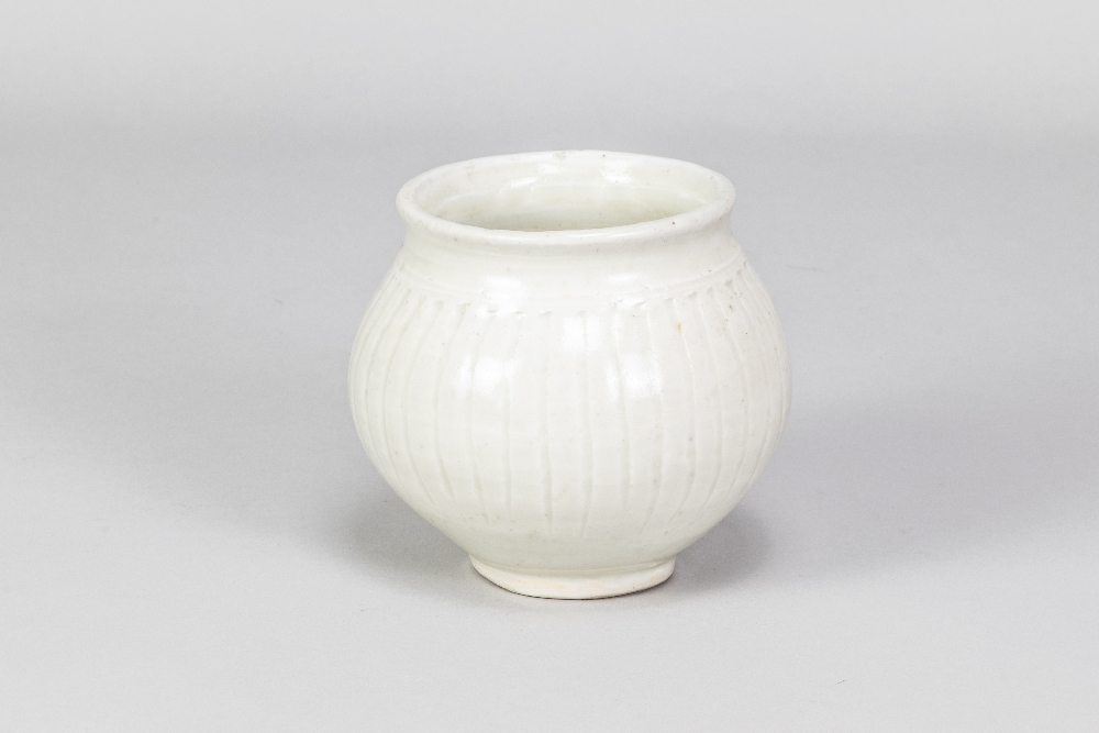 BERNARD LEACH (1887-1979) for Leach Pottery; a fluted porcelain pot covered in celadon glaze, - Image 2 of 5