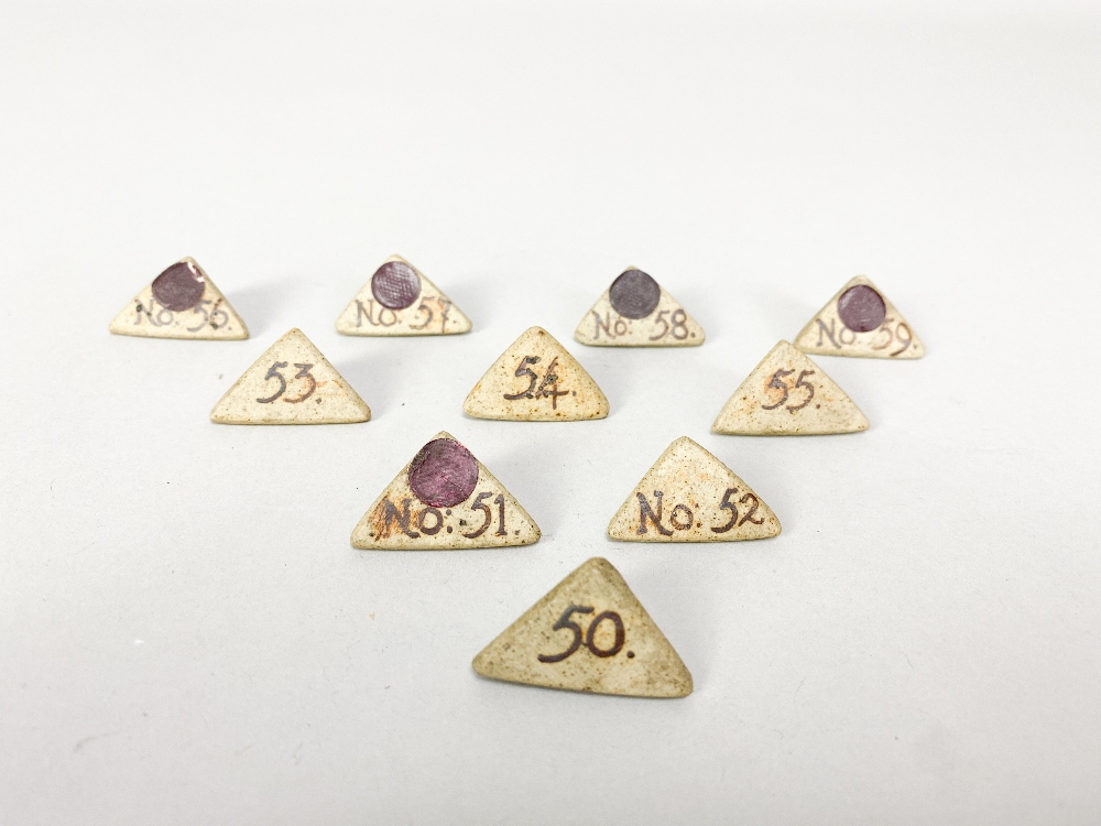 MARGARET REY (1911-2010); a set of triangular stoneware exhibitionnumbers, made 1938, and an - Image 7 of 9