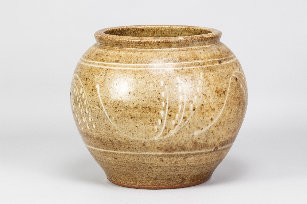 BERNARD LEACH (1887-1979) for Leach Pottery; a very large stoneware pot with floral decoration on - Image 2 of 6