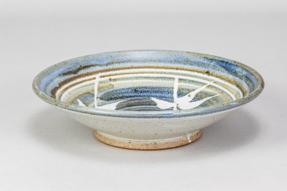 BRYAN NEWMAN (1935-2019) for Aller Pottery; a stoneware footed dish with wax resist decoration on
