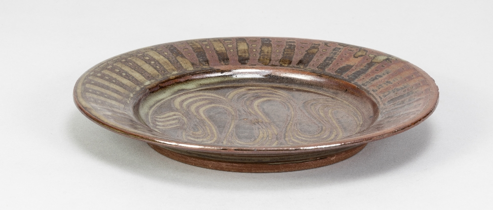 MICHAEL OBRIEN (born 1930) for Wenford Bridge Pottery; a stoneware plate with meander decoration - Image 2 of 5