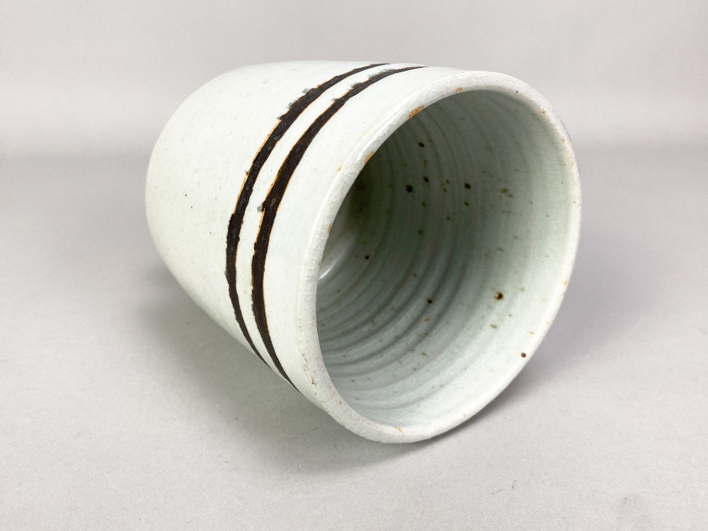 DEREK DAVIS (1926-2008); a cylindrical porcelain footed vase covered in chun glaze with manganese - Image 3 of 5