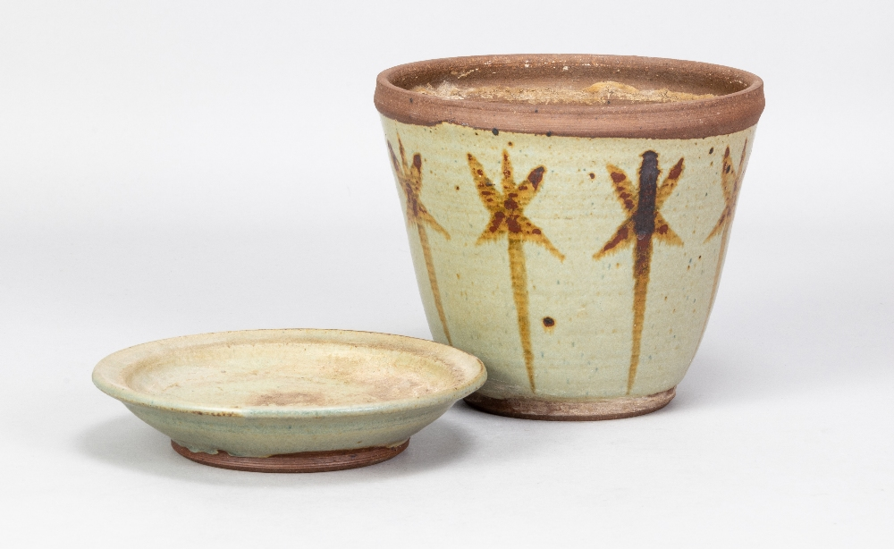 VERA TOLLOW (born 1931); a stoneware flower pot and saucer with iron decoration on green/grey - Image 3 of 6