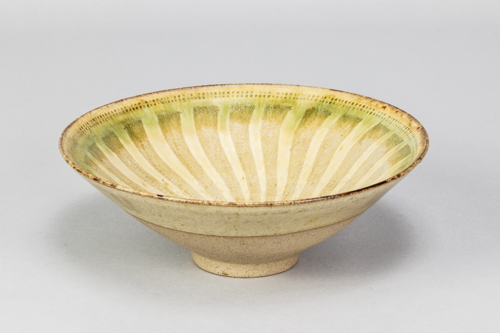 GEOFFREY EASTOP (1921-2014); a stoneware bowl partially covered in green glaze with radiating - Image 2 of 5