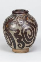 MARGARET REY (1911-2010); a large stoneware vase with iron decoration on mottled grey ground,
