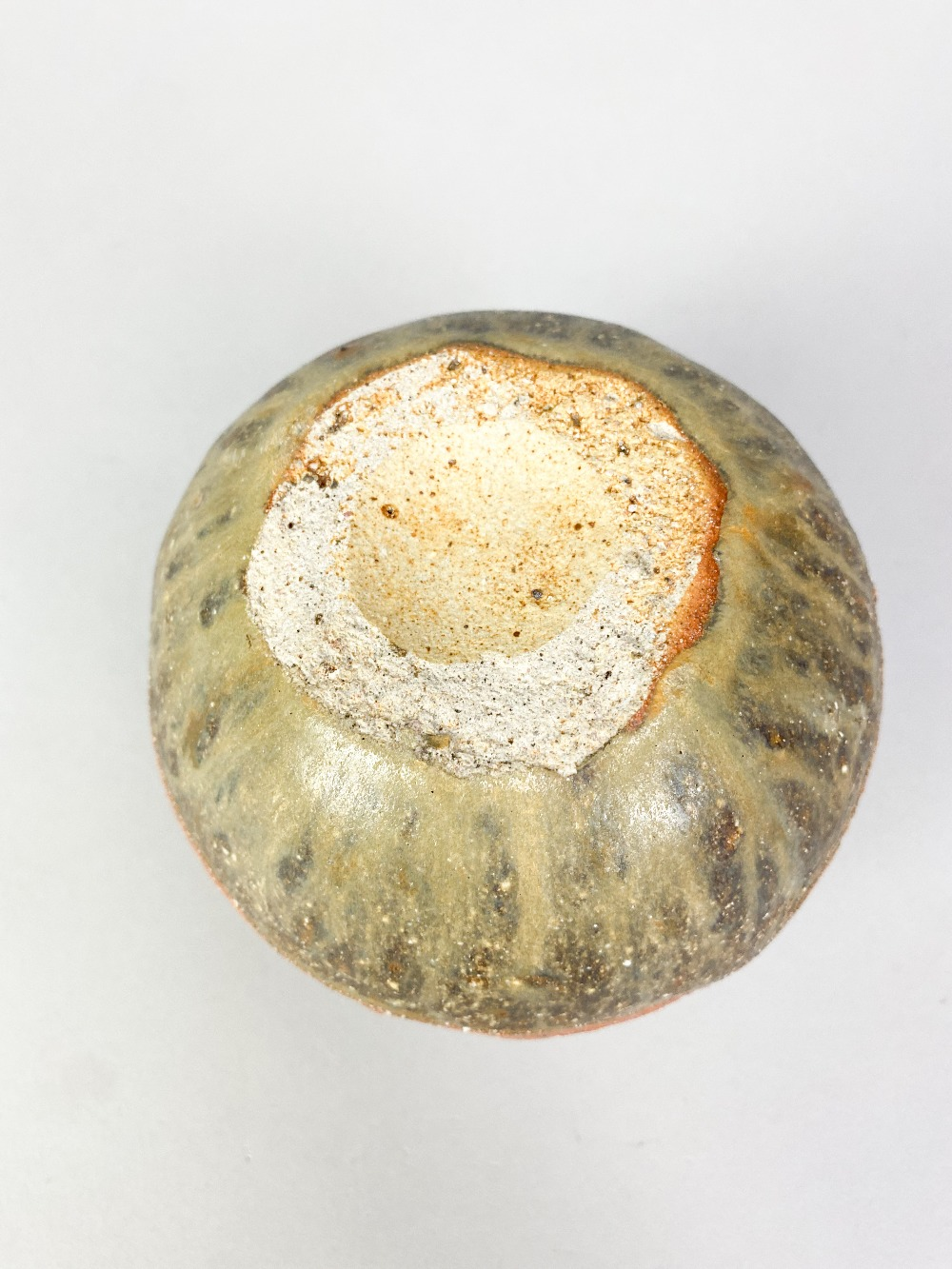 BERNARD ROOKE (born 1938); a small round stoneware pot with incised decoration, made 1960s, height - Image 4 of 4