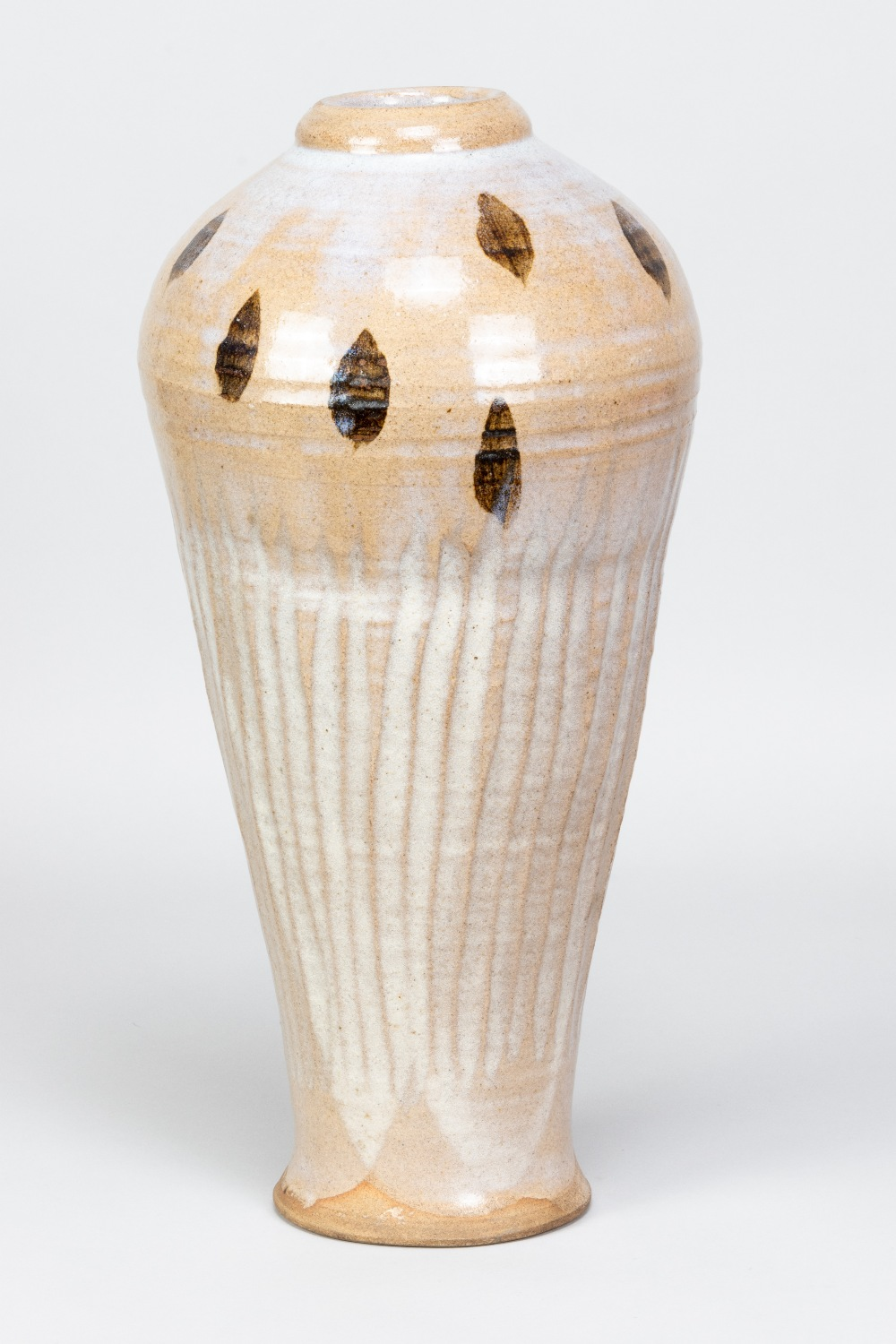 WILLIAM STAITE MURRAY (1881-1962); a tall stoneware bottle with fluted body and iron decoration to - Image 2 of 8