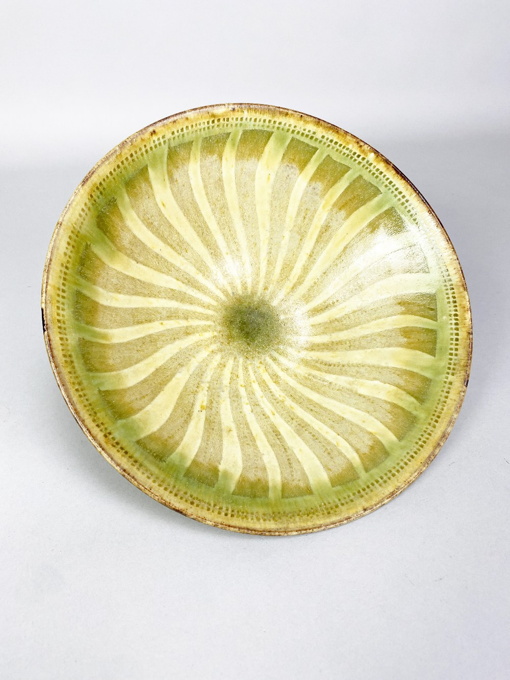 GEOFFREY EASTOP (1921-2014); a stoneware bowl partially covered in green glaze with radiating - Image 3 of 5