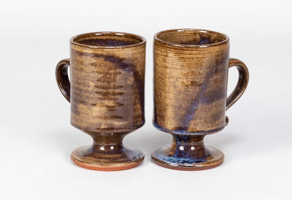 Briglin Pottery; four pairs of tin glazed earthenware footed mugs with four different decorations, - Image 2 of 6