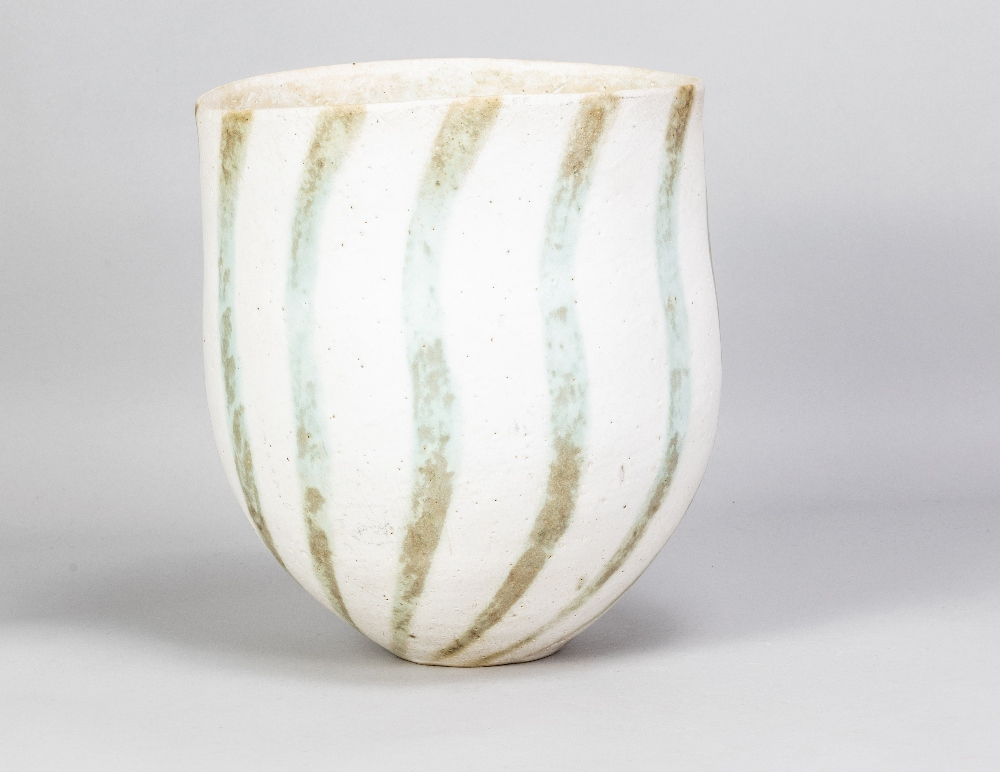 JOHN WARD (born 1938); a deep stoneware vessel with mottled green stripes on off white ground, - Image 2 of 5