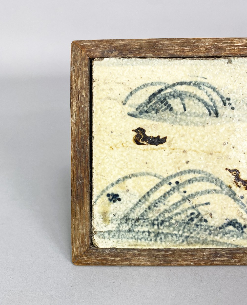 BERNARD LEACH (1887-1979) for Leach Pottery; a stoneware tile depicting ducks and reeds in - Image 2 of 4