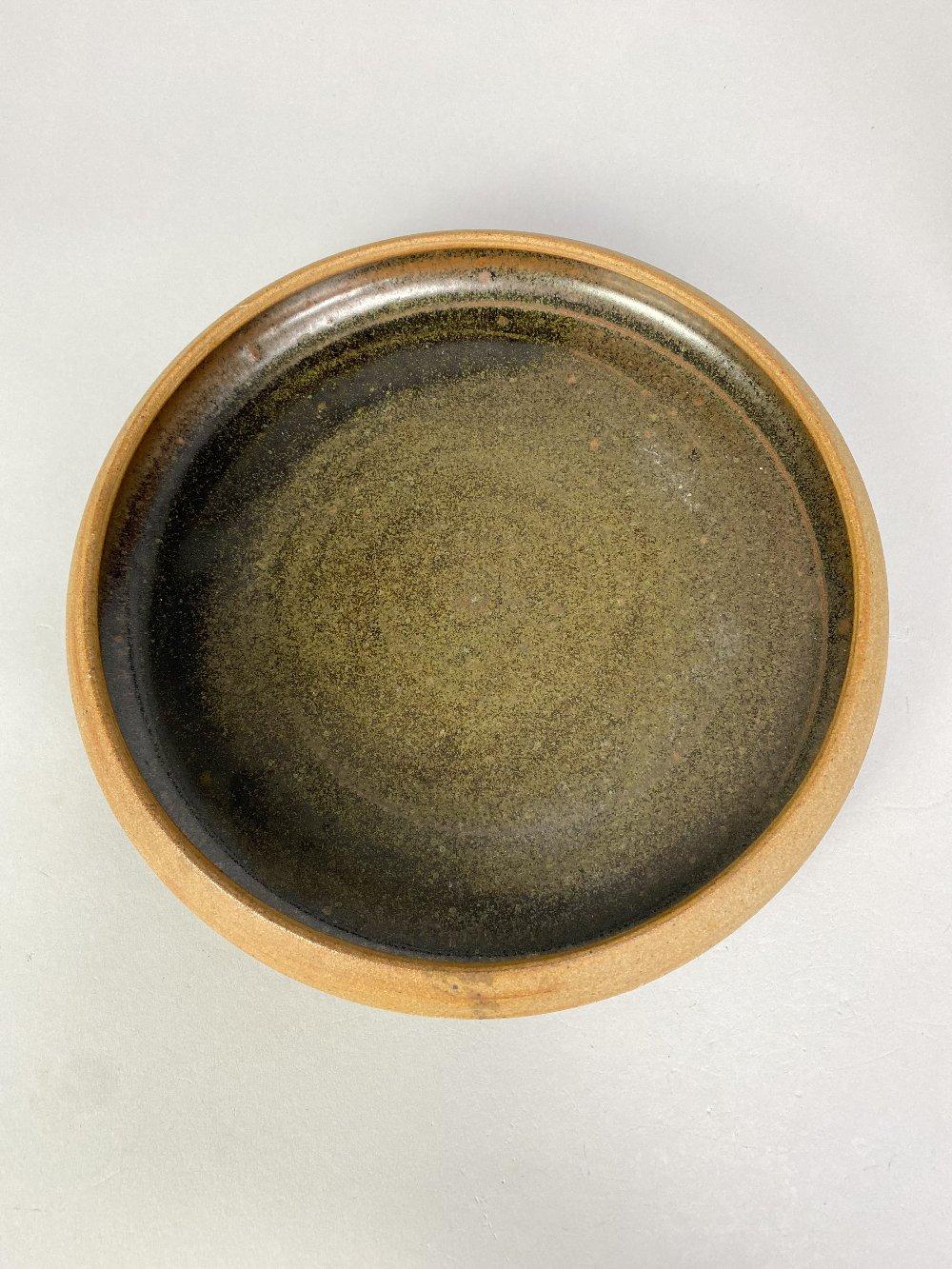 COLIN PEARSON (1923-2007); a stoneware coffee pot with shino topand a stoneware dish, impressed - Image 3 of 7