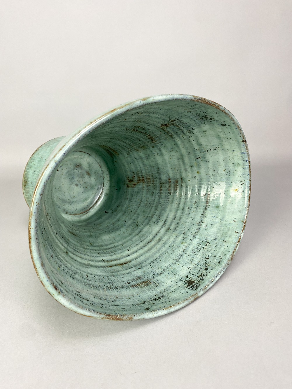 LUCIE RIE (1902-1995); a very large oval stoneware vase with squeezed rim and inlaid lines covered - Image 3 of 5