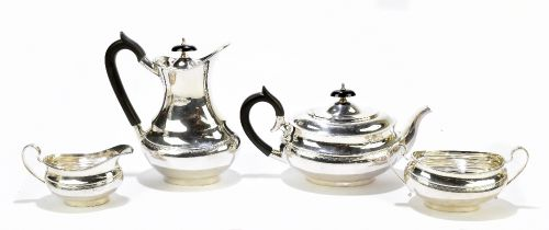 VINERS LTD; an Elizabeth II hallmarked silver four piece tea set, each of oval form with chased