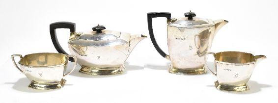 S BLANCKENSEE & SONS LTD; a George VI hallmarked silver four piece tea set, comprising teapot,