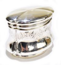 JOSEPH RODGERS & SONS; a late Victorian hallmarked silver tea canister of shaped oval form with