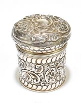 WILLIAM HAYES; a late Victorian hallmarked silver cylindrical tea canister and cover, the lid