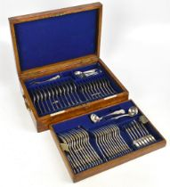 GOLDSMITHS & SILVERSMITHS CO; a sixty-two piece canteen of King's pattern hallmarked silver
