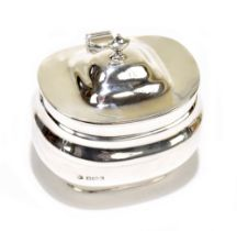 WILLIAM HUTTON & SONS LTD; a George V hallmarked silver tea canister of rounded rectangular form,