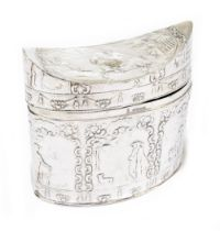 An Edwardian Dutch imported silver tea canister, with convex hinged lid and allover embossed
