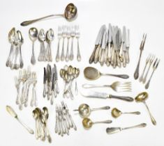 An extensive ninety-eight piece German 800 grade canteen of cutlery, each with cast detail to the