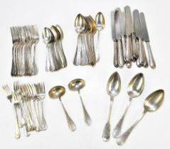 A German 800 grade silver sixty-five piece service, each with cast detail to the handles, comprising
