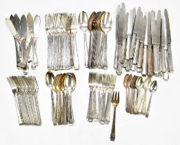 A German 800 grade silver ninety-seven piece canteen of cutlery in the Art Deco style, comprising