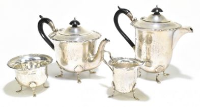 WALKER & HALL; a George Vhallmarked silver four piece tea set, Sheffield 1938, 1933 and 1934,