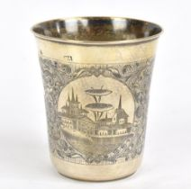A 19th century Russianhallmarked silver 84 Zolotnik and niello beaker, decorated with two