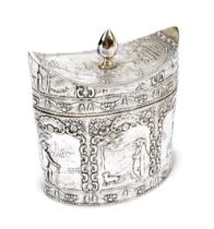 A late Victorian Dutch imported silver tea canister, with convex lid set with knopped finial above