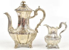 JOSEPH ANGEL I & JOSEPH ANGEL II; a Victorian hallmarked silver teapot, of shouldered and lobed