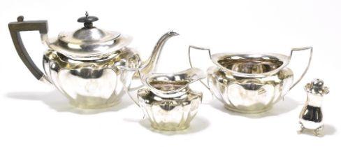 JOHN & WILLIAM DEAKIN; an Edward VII hallmarked silver three piece tea set comprising teapot with