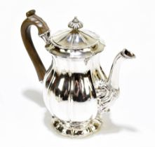 WILLIAM ELEY; a George IV hallmarked silver coffee pot of baluster form with cast finial and