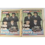 THE BEATLES INTEREST; two copies of the Liverpool Echo,