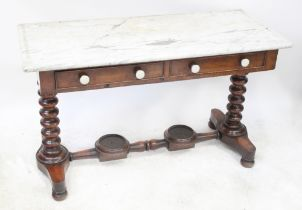 A Victorian marble top wash stand with two drawers,