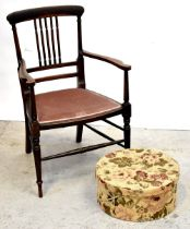 An Edwardian walnut inlaid open arm elbow chair with upholstered seat,