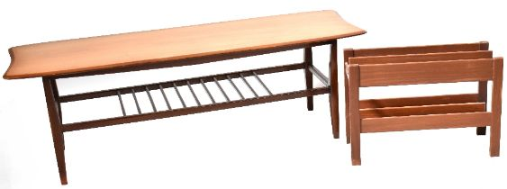 A 1960s retro teak coffee table with shaped top and slatted undertier, 41 x 121 x 41cm,