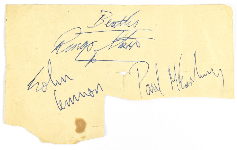 THE BEATLES; a set of three signatures, John Lennon, Paul McCartney, and Ringo Starr.